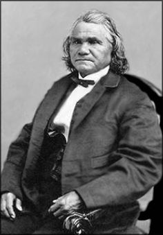 Cherokee planter and slaveholder, Stand Watie supported the South in the Civil War and organized a Cherokee Home Guard Company. In 1864 the Confederates made him a Brigadier General, the only Indian to hold such high rank during the war.