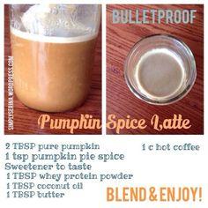 Bulletproof coffee - pumpkin spice latte, Trim Healthy Mama style, via Simply Serina