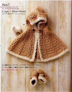 Child's cape and booties (in red with white trim!) - will need translator