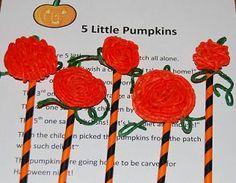 """A new version of the """"5 Little Pumpkins"""" finger play + more pumpkin activities craft, pumpkin, finger play, preschool, kid"""