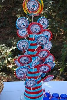 lollipop tree. dr seuss theme. would make awesome candy centerpiece
