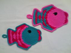 Fish Crochet Pot Holders - Set of 2, Housewares fish crochet, crochet kitchen, crochet pothold, animal crochet, pot holder