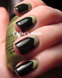 Use decorative scissors to cut tape, apply to nails, and paint for an interesting half-moon mani.