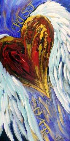 "Custom Mixed Media Inspirational Heart Painting Textured- 24""x48""inches by Kathleen Fenton"