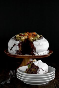 This would be so marvelous as an elegant Christmas dessert: Nutty Chocolate Pavlova. #pavlova #meringue #chocolate #nuts #dessert #baking #cooking #fancy