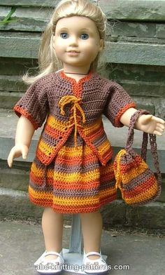 ABC Knitting Patterns - American Girl Doll Back to School Outfit (Cardigan, Skirt and Backpack)
