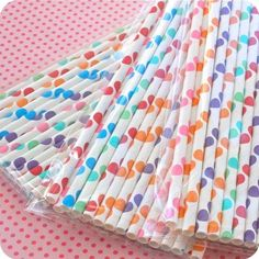 straws polka dots, birthday parties, drink, rainbows, paper straws, dot straw, papers, birthday ideasthem, parti idea