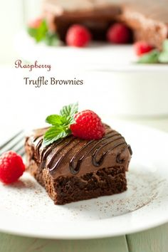 raspberry truffle brownies - deliciously chocolaty. I love these! Bonus they are made using chocolate chips!