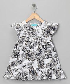 Loving this White & Navy Ruffle Dress - Infant, Toddler & Girls on #zulily! #zulilyfinds