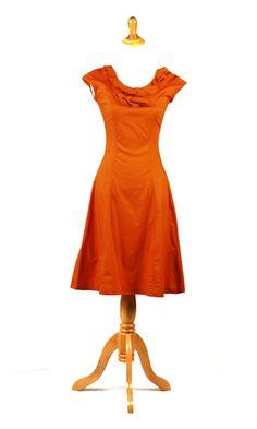 Orange Retro Dress dress 84, dress shapes, dresses, cloth idea, oranges, modest dress, orang ruffl, neck dress, bold colors