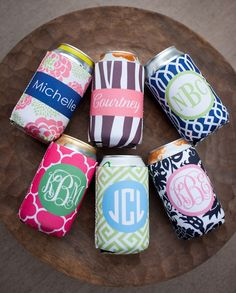 Monogrammed koozies - this would make a great gift idea.