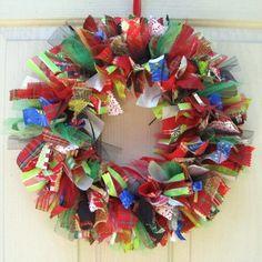 Christmas Wreath, Holiday Wreath, Ribbon Wreath Fabric Wreath for Front Door Christmas Decor. $70.00, via Etsy.