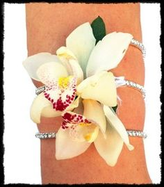 orchid crystal arm cuff by @cactusflower #prom #corsage on Fitz Design Eye Candy eye candi, arm cuff, crystal arm, orchid crystal, flower cuff corsage