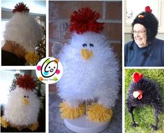 Crochet Chicken and Rooster Hats - OMG !!! Just died