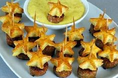 Appetizers sausag, star, puff pastries, dipping sauces, blankets, appetizers, cookie cutters, parti food, biscuits