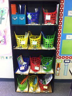 IEP Tubs:  everything to work on each IEP is in the tub:  materials and data sheets and instructions on the clipboard under each basket.
