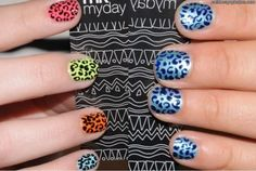 nail art 2012 trends - colored animal prints!
