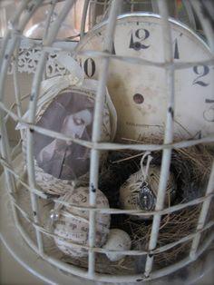vignett, birdcag, petit michell, white, craft idea, michell louis