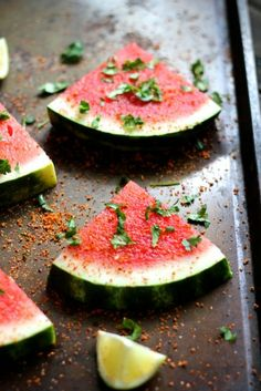 Chile Lime Watermelon Wedges with Cilantro - @alaskafmscratch watermelon wedg, chile lime, lime watermelon