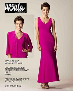 Mother of the bride dress by Ursula of Switzerland. High twist crepe, 2pc dress w/ jacket