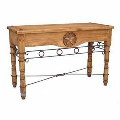 Star Sofa Table with Iron by Million Dollar Rustic. $369.00. Traditionally styled rectangle sofa table with hand carved stars and iron accents.