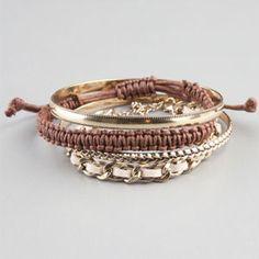 FULL TILT 4 Piece Cord & Chain Bracelets