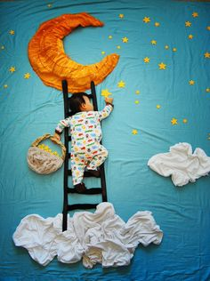 Creative Mom Turns Her Baby's Naptime Into Dream Adventures 'Ladder To Heaven' - Bored Panda #SleepingBoy #IncredibleBabyPhotos