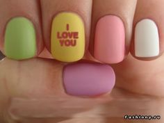 Valentine Nails. matte polish/candy hearts manicure.