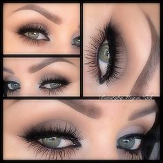 Smudged liner, taupe shadow, lots of mascara....I loooove this look!