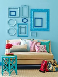 Round up a series of pretty frames, remove the art, spray paint them in a unifying color scheme, and arrange them on a wall: http://www.bhg.com/decorating/do-it-yourself/accents/easy-home-decor-crafts-and-gifts/?socsrc=bhgpin040414framedup&page=1