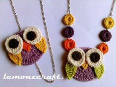 pattern, owl necklac, collars, crochet necklace, crochet owls, necklaces, tricot, amigurumi, crochet appliques