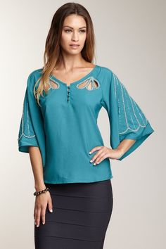 Romeo & Juliet Couture Embellished Flared Sleeve Top