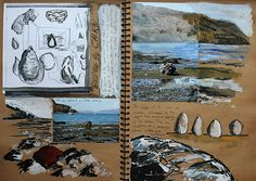 At its essence, a student sketchbook should emulate that of a practising artist. With photographs providing evidence of first-hand research, quick confident gestural drawings showing a response to this environment, and scrawled annotation, this beautiful sketchbook page – showing the development of ideas for a sculpture entitled 'Stone Egg' – does exactly that.