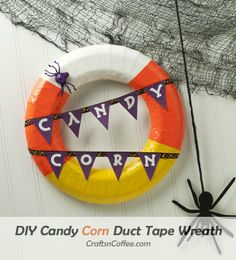 This is the best -- and easiest -- Candy Corn Halloween Wreath. Make it fast with duct tape.