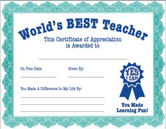 Teacher Appreciation Certificate from the PTO Today File Exchange.