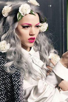 hair models, gray hair, grey hair, chanel, makeup
