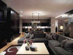 decor, modern living rooms, open floor plans, basement, living room designs
