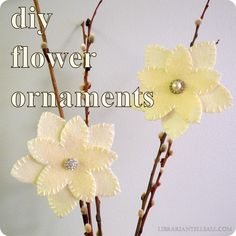 librarian tells all: DIY Winter Flower Clip Ornaments à la West Elm