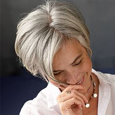 Gray hair cut to a great shape