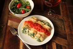 """Healthified"" Manicotti = 385 calories, 15 g fat, 40g protein, 5.2 carbs, 3.5g fiber"