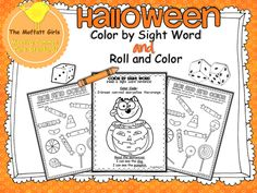 Halloween Pack! Color by Sight Word and 2 Roll, Add and Color Sheets!