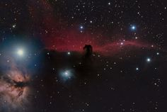 "The Horsehead Nebula (IC 434)  by Shishir and Shashank Dholakia (USA), aged 15. Winner ""Young Astronomy Photographer of the Year"". It shows the dark nebula (Barnard 33), the surrounding red emission nebula (IC 434) & the Flame Nebula (NGC 2024). Will Gater: 'The star colours are beautifully controlled in this image.' Mona Evans, ""Astronomy Photographer of the Year 2014"" http://www.bellaonline.com/articles/art184169.asp"