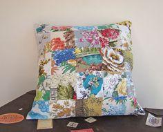 Vintage barkcloth patchwork cushion patchwork cushion