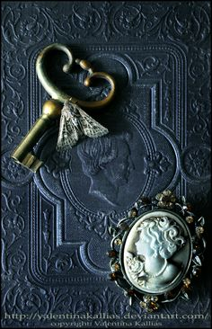 old keys, skeleton keys, student, diaries, book covers, cameo, blues, eyes, old books