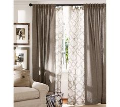 Living room window treatment inspiration.  Kendra Trellis Sheer Drape | Pottery Barn dining rooms, living rooms, window curtains, potteri barn, window treatment, living room windows, family rooms, window coverings, pottery barn