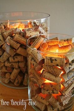 cork and candle centerpieces-- can also do with glass beads etc