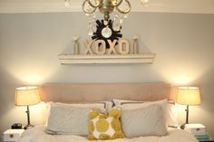 love the XOXO DIY letters and mantel above bed