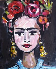 Frida Kahlo Portrait on Canvas stylized by DevinePaintings on Etsy, $125.00
