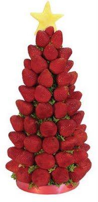Árbol de Navidad hecho con fresas.