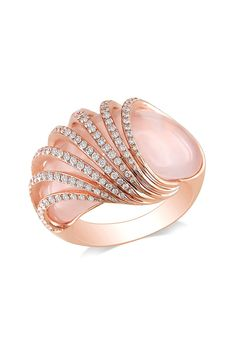 Rose Gold Pave Diamond Caged Rose Quartz Ring